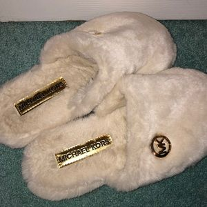 Michael Kors slippers with hard plastic bottoms